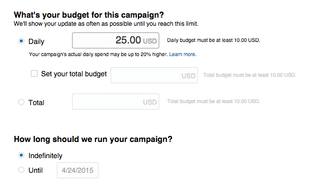 Whats the budget for this campaign