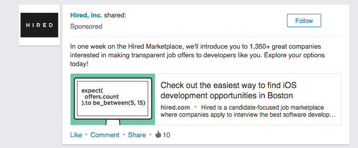 Linkedin Ad Example Hired