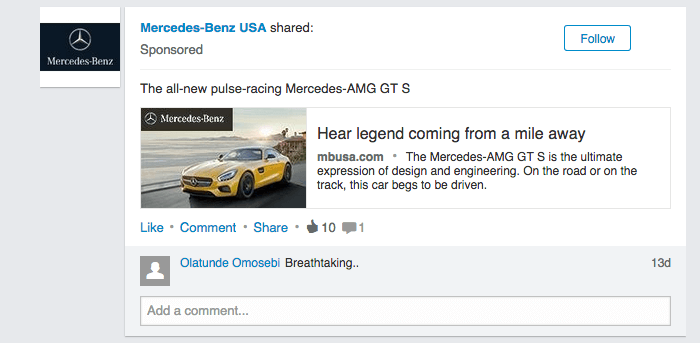 Linkedin Ad Example Mercedes