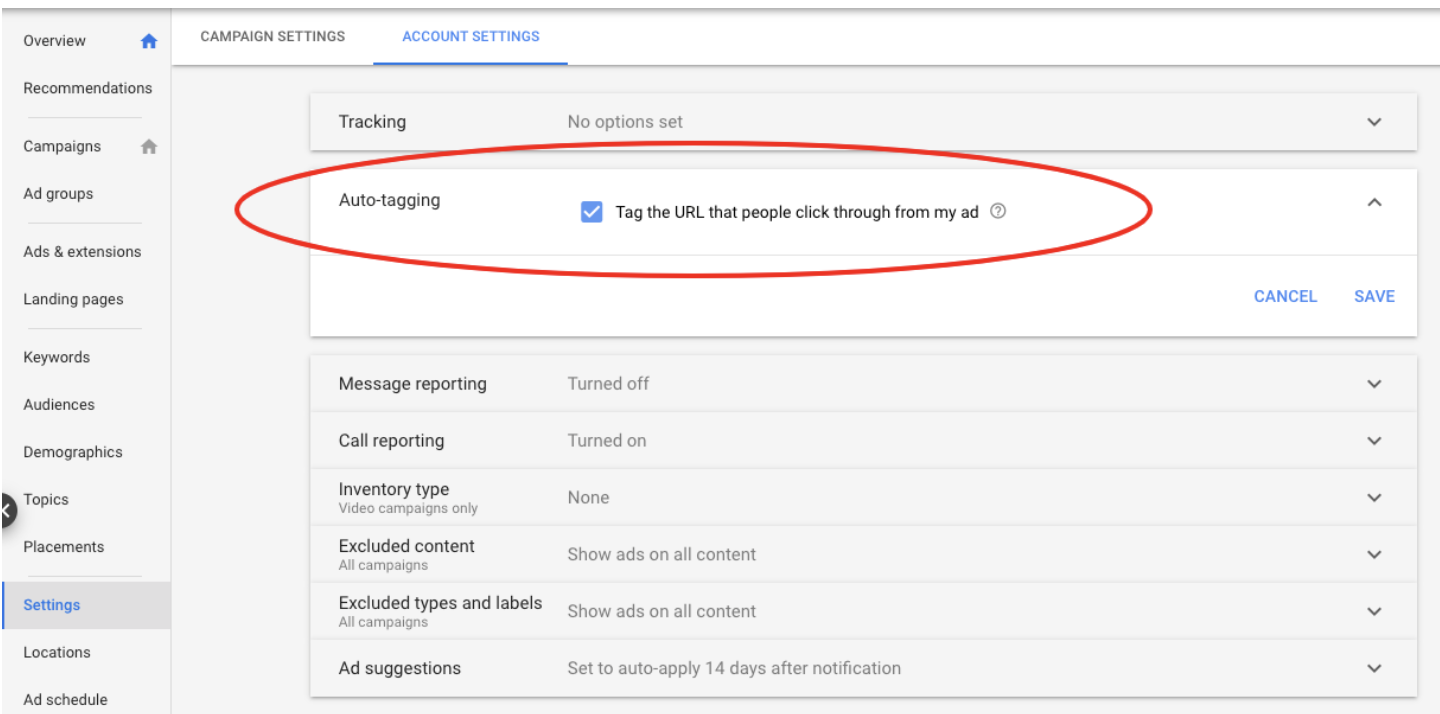 enable auto-tagging for Google Ads