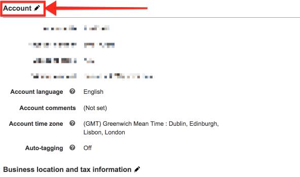 Edit Bing Ads Account