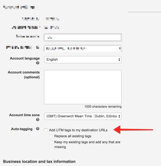 Enable Auto Tagging for Destination URLs