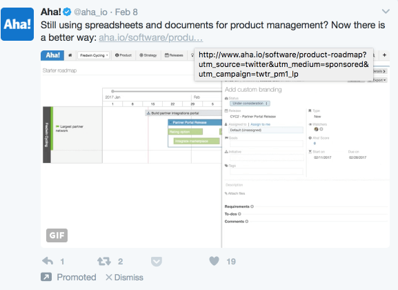 Example of Twitter Ad Using UTMs