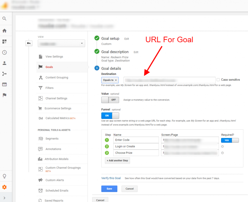 destination goal google analytics
