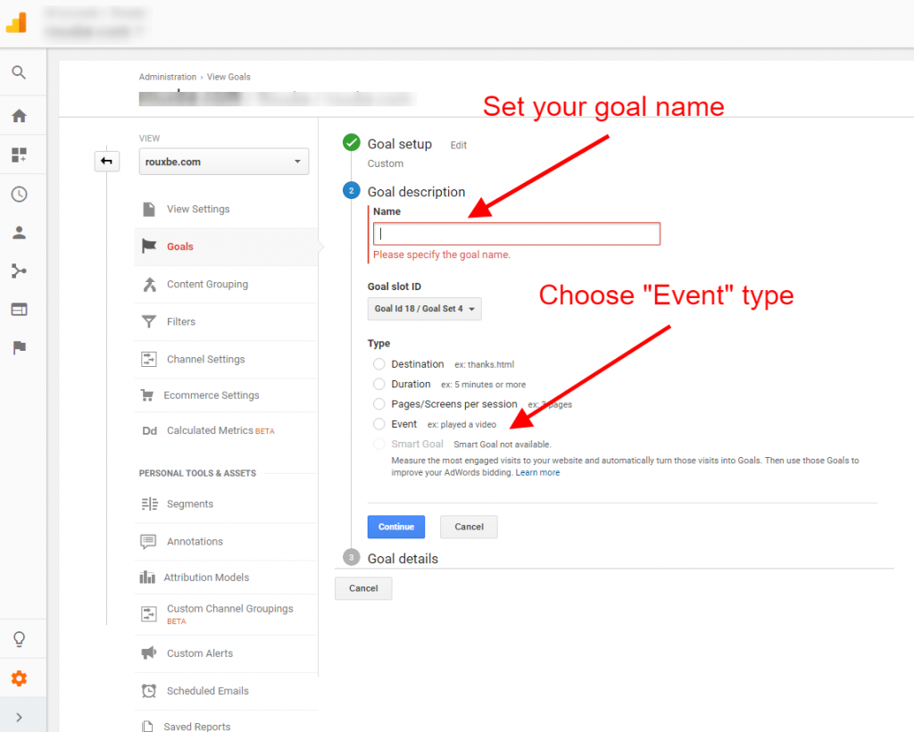 setup event goal google analytics