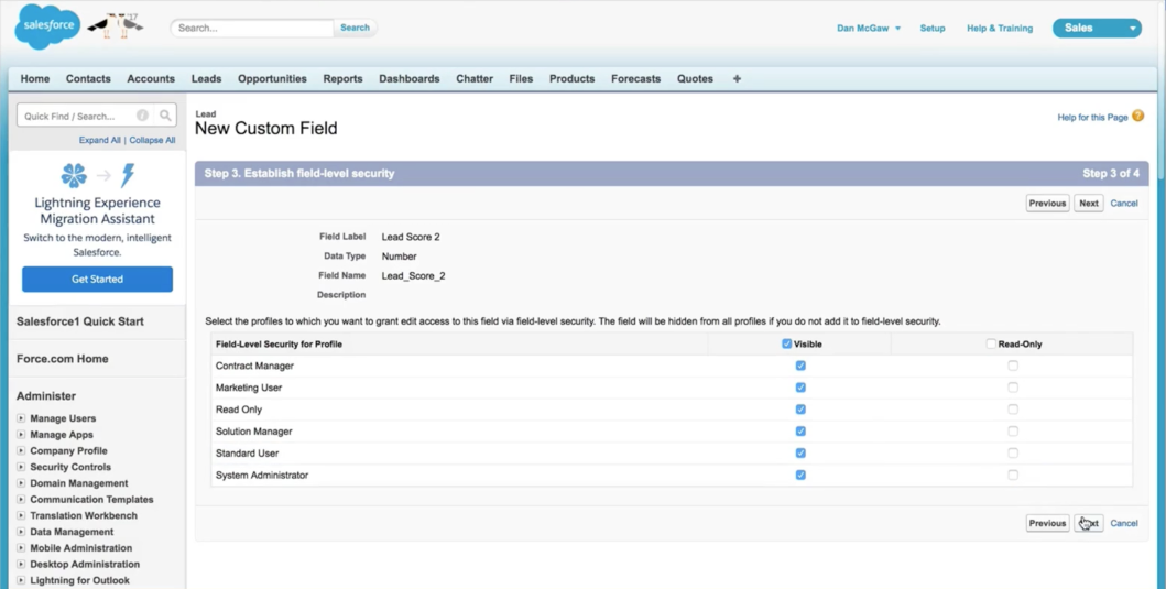 new custom field in Salesforce
