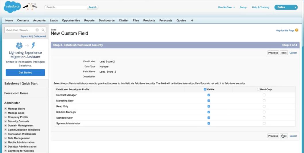 new custom field in Salesforce
