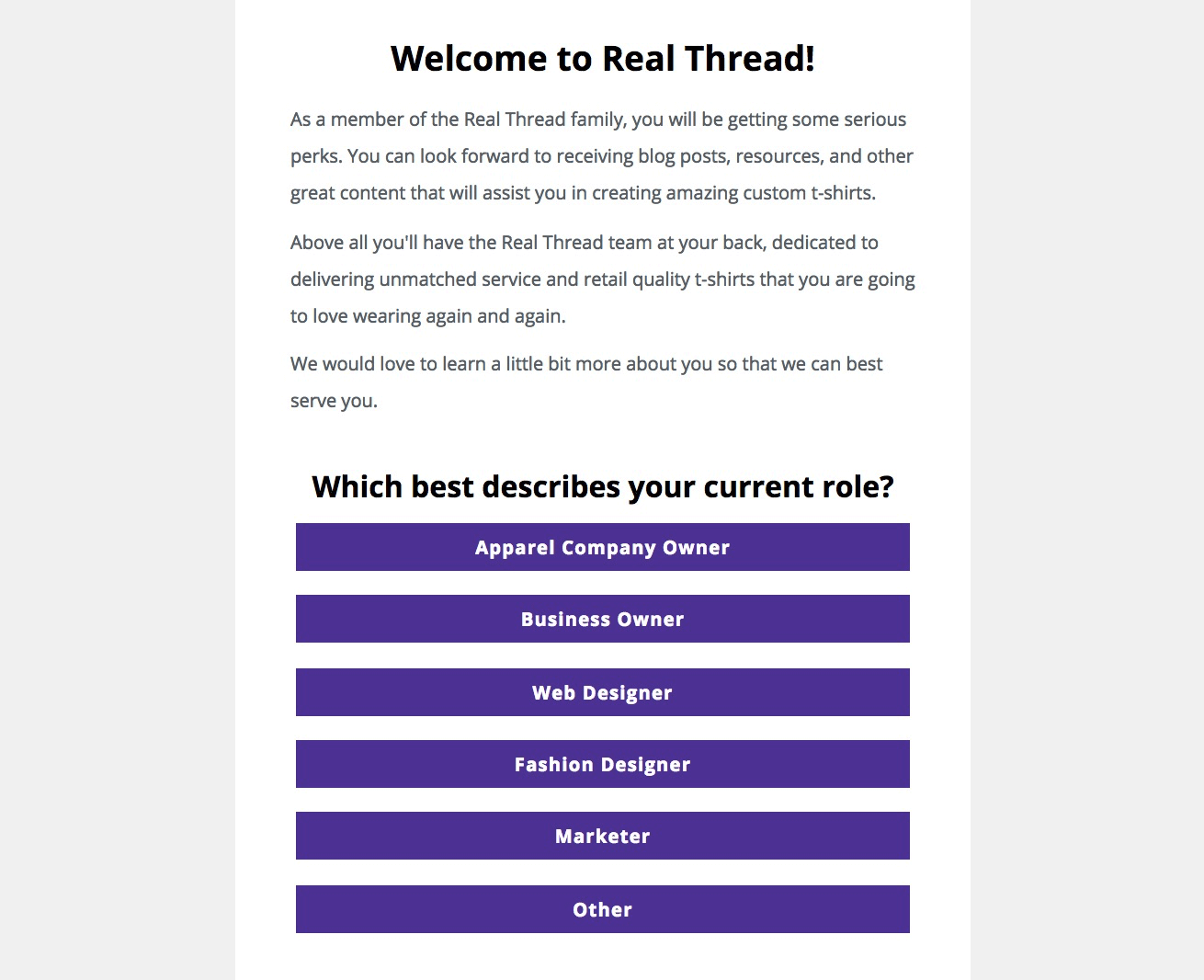 real thread welcome email