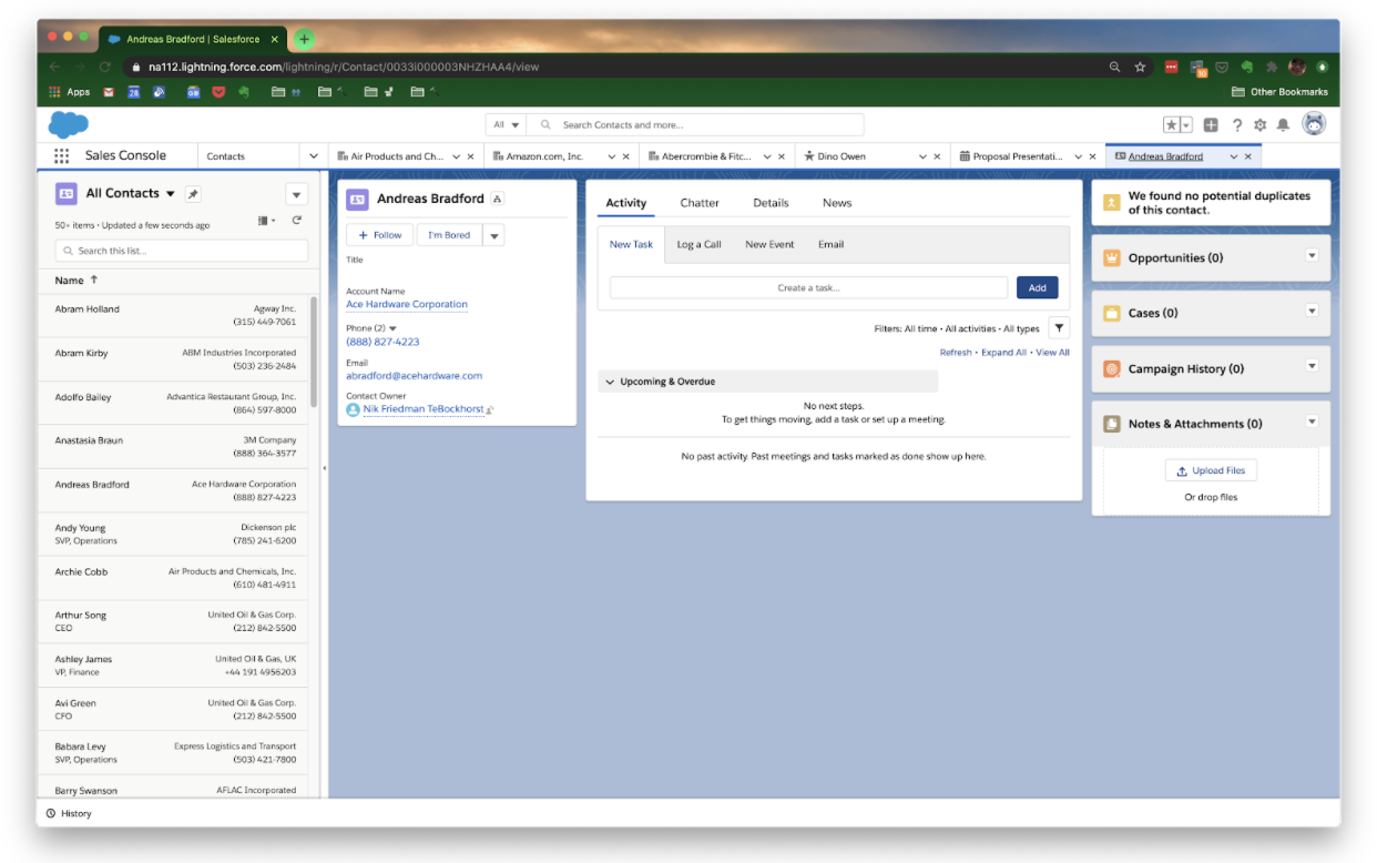 Contacts view in Salesforce CRM