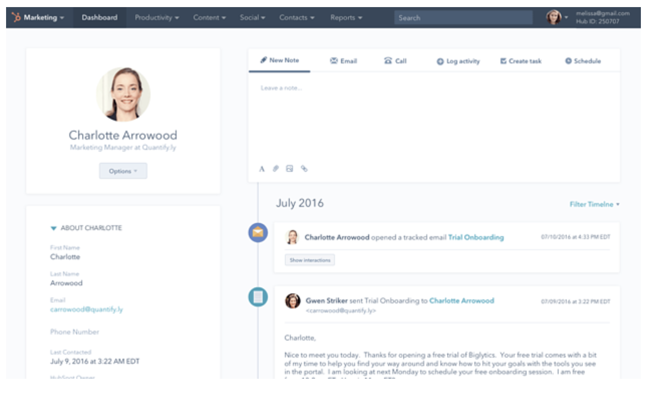 Contact view in HubSpot CRM